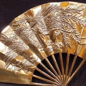 NWT-PAIR (2) THICK SOLID BRASS WALL ACCENT FANS